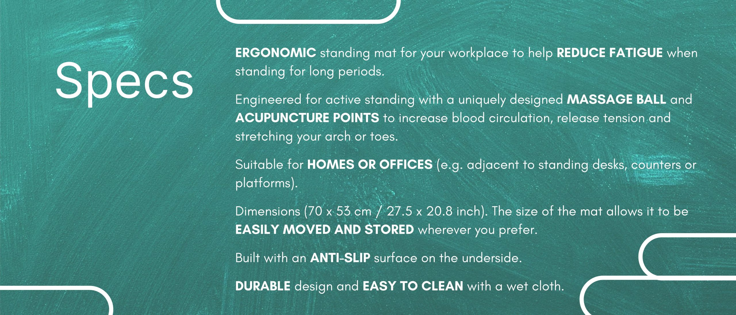 Standing Mat with Massage Ball Specifications